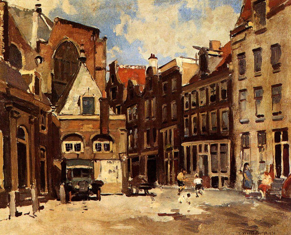 A Townscene With Children At Play Haarlem by Cornelis Vreedenburgh