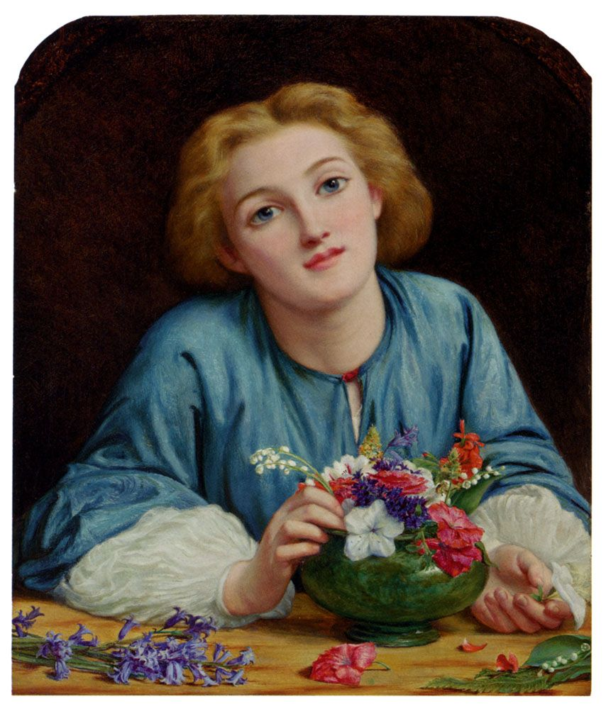A Young Girl Arranging A Bouquet by Henry Wallis