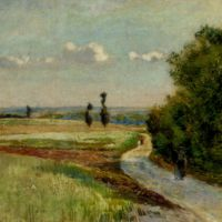 A path in a pastoral landscape by Claude Vignon