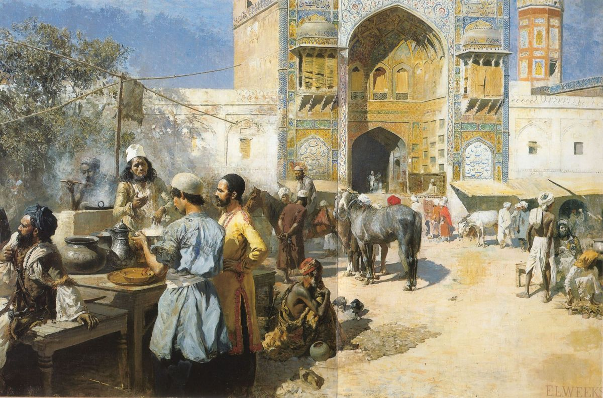 An Open Air Restaurant Lahore by Edwin Lord Weeks