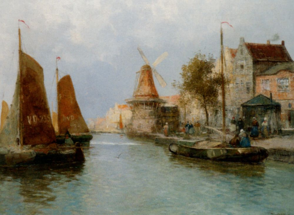 Boats by the Riverbank by Carl Wagner