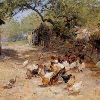 Chickens in a Farmyard by Ernest Walbourn