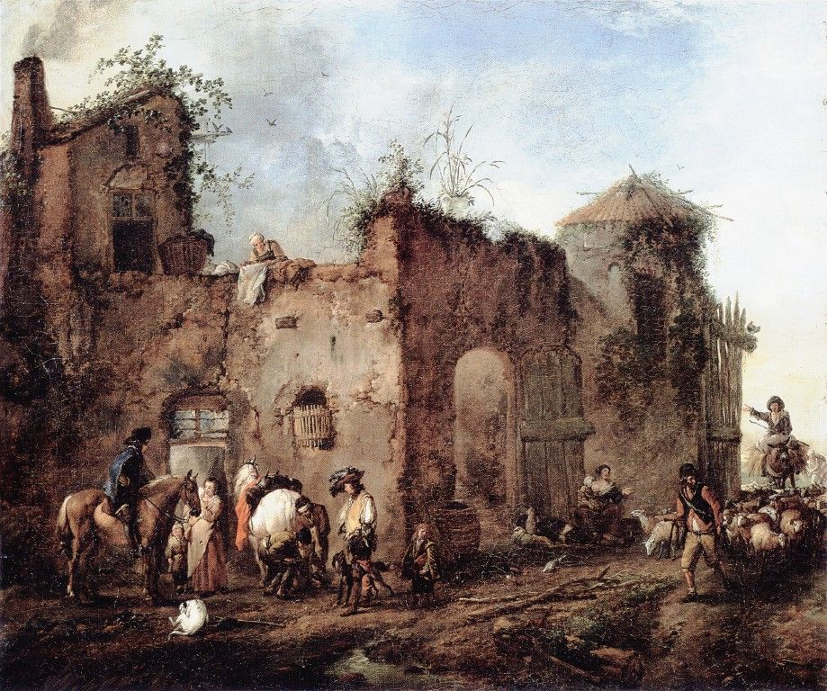 Courtyard with a Farrier Shoeing a Horse by Philips Wouwerman