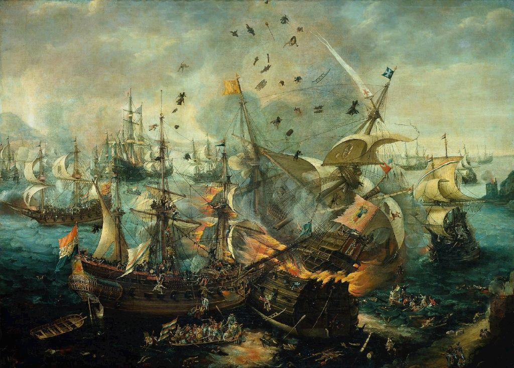 Explosion of the Spanish Flagship in the Battle of Gibraltar 1607 by Cornelis Claesz van Wieringen