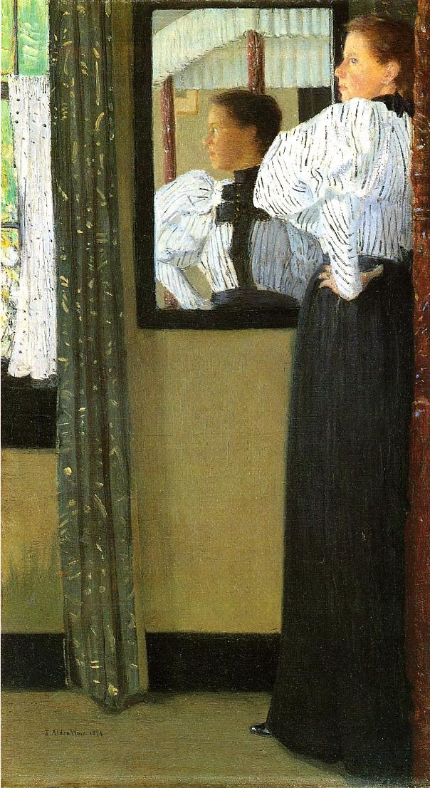 Face Reflected in a Mirror by Julian Alden Weir