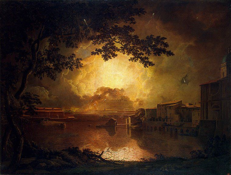Firework Display at the Castel Sant Angelo in Rome by Joseph Wright of Derby