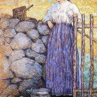Girl Standing by a Gate by Julian Alden Weir