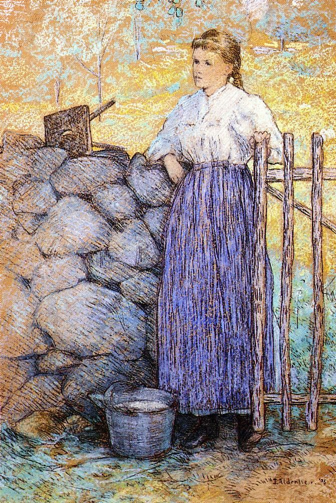 Girl Standing by a Gate by Julian Alden Weir