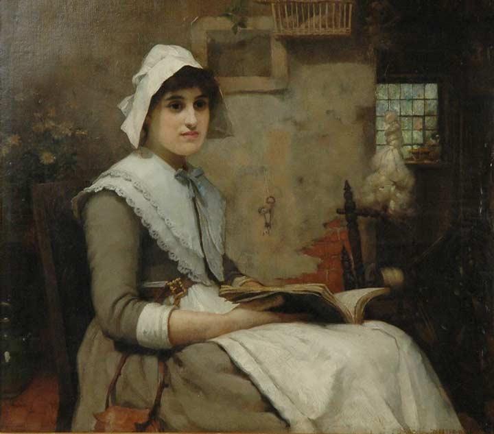 Interior Med Lasande Kvinna by William Watson