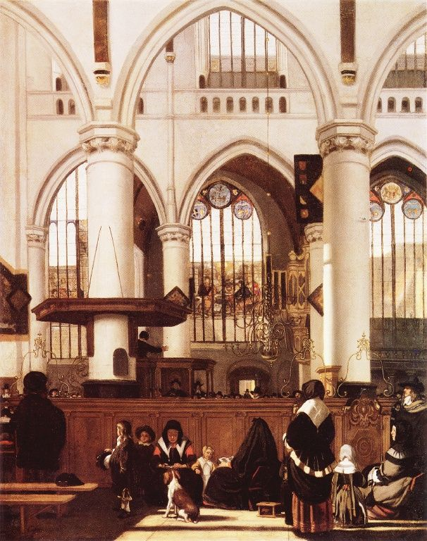 Interior of the Old Church during a Sermon by Emanuel de Witte
