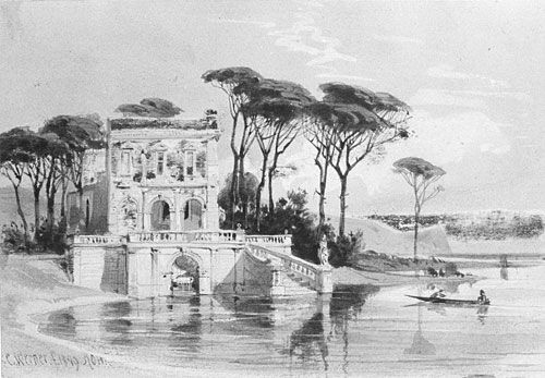 Italian Lake Scene with Villa from Cropsey Album by Carl Friedrich H Werner