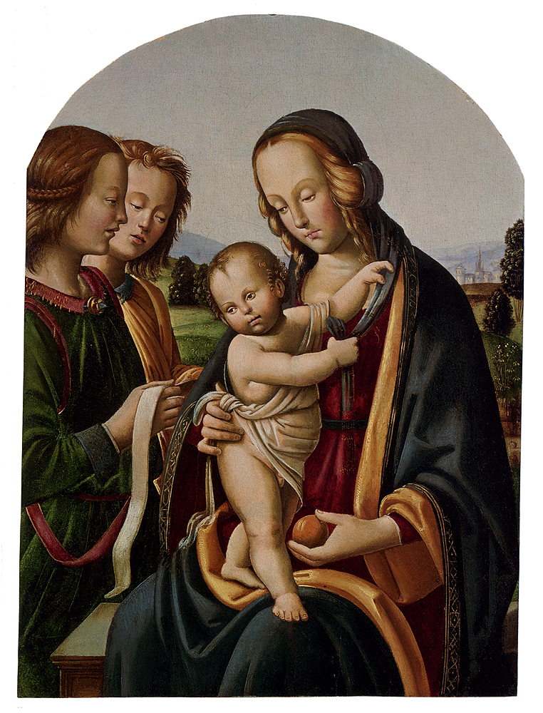 Madonna And Child With Two Angels by Rocco Zoppo