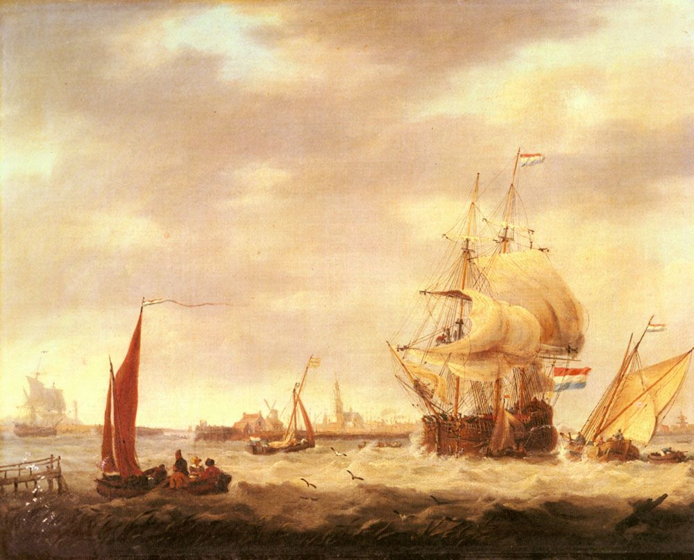 Merchant Ship and Fishing Vessels off the Dutch Coast by George Webster