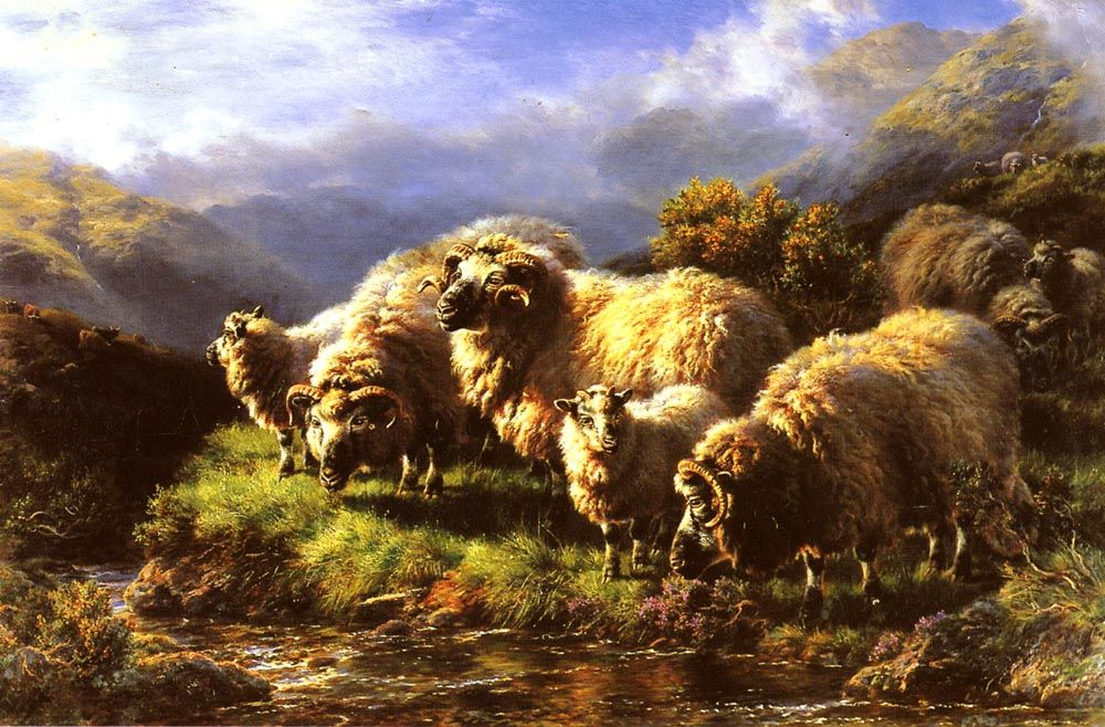 Morning sheep grazing in a Highland Landscape by William Watson