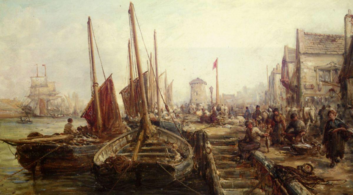 Peel Harbour Isle of Man by William Edward Webb