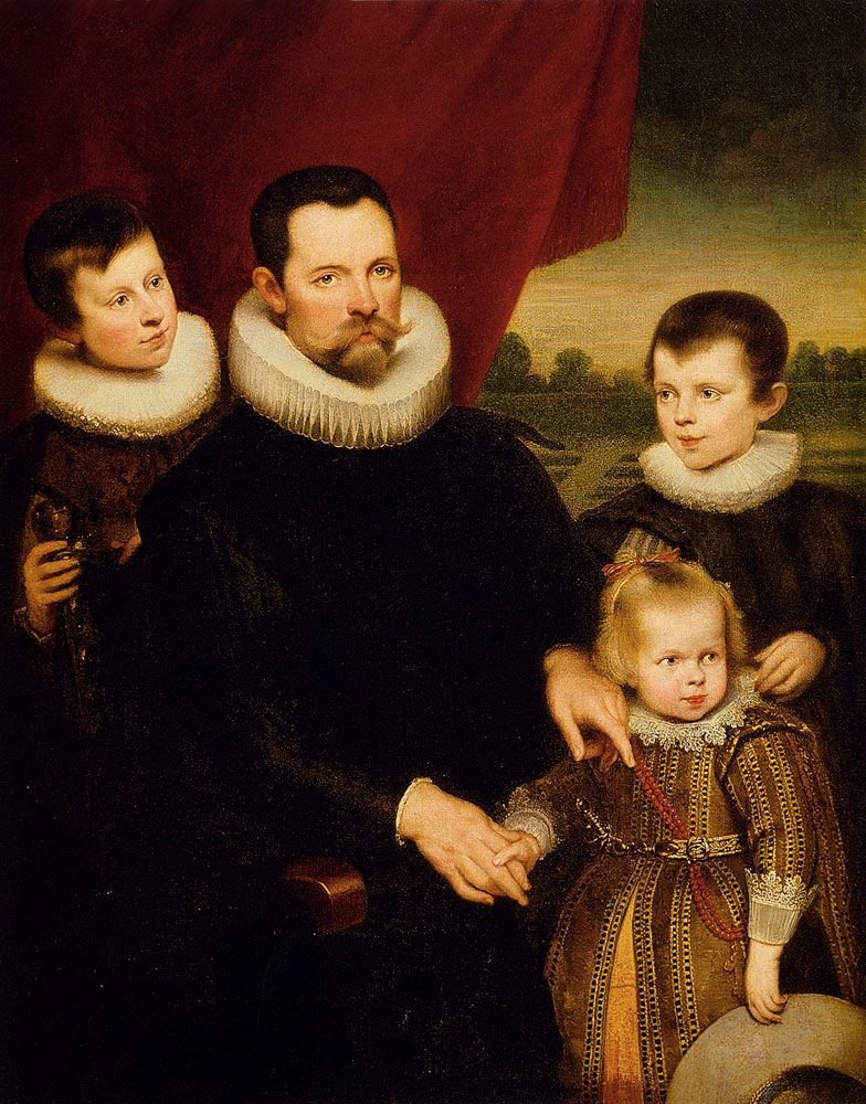 Portrait Of A Nobleman And Three Children by Cornelis De Vos