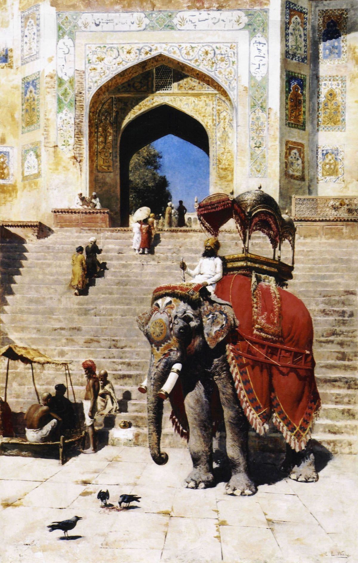 Royal Elephant at the Gateway to the Jami Masjid, Mathura by Edwin Lord Weeks