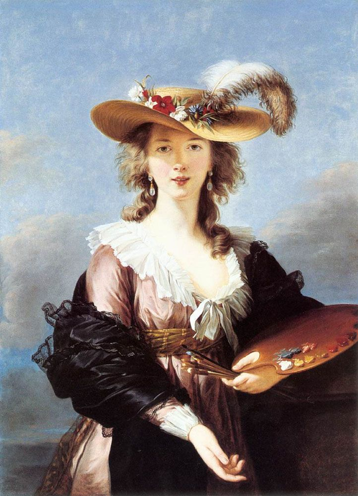 Self Portrait in a Straw Hat by Elisabeth Louise Vigee Le Brun