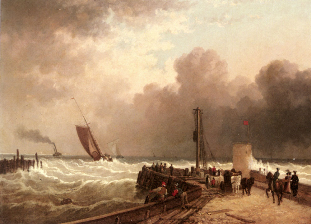 Shipping Approaching The Harbour Mouth In A Rough Sea by John Jock Wilson