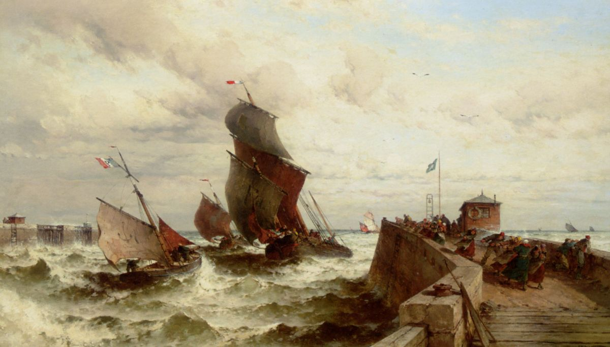 Ships Entering a Port in a Storm by Theodor Alexander Weber