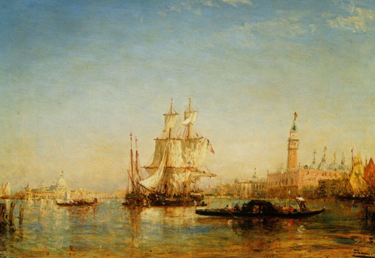 Ships on Bacino de San Marco by Felix Ziem