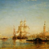 Ships on Bacino de San Marco by Felix Ziem