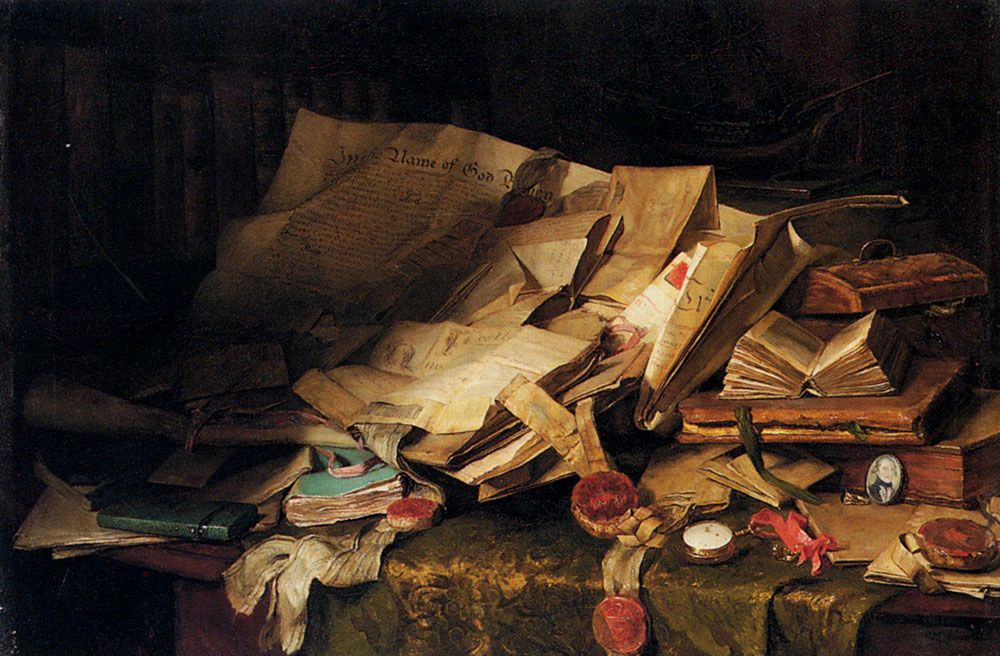 Still Life Books And Papers On A Desk by Catherine M Wood