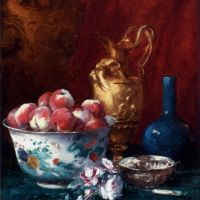 Still Life With Peaches by Antoine Vollon