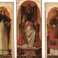 Sts Dominic, Augustin, and Lawrence by Bartolomeo Vivarini