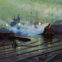 The Docks at Cardiff by Lionel Walden