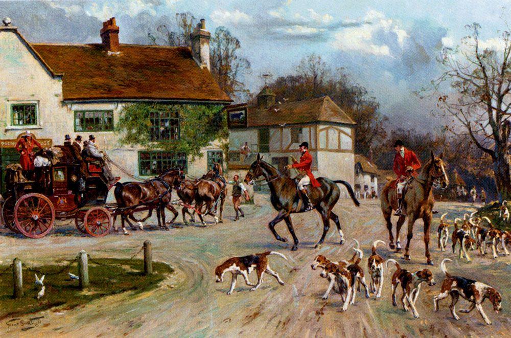 The Hunt Outside The Old Bull Inn by Gilbert Scott Wright