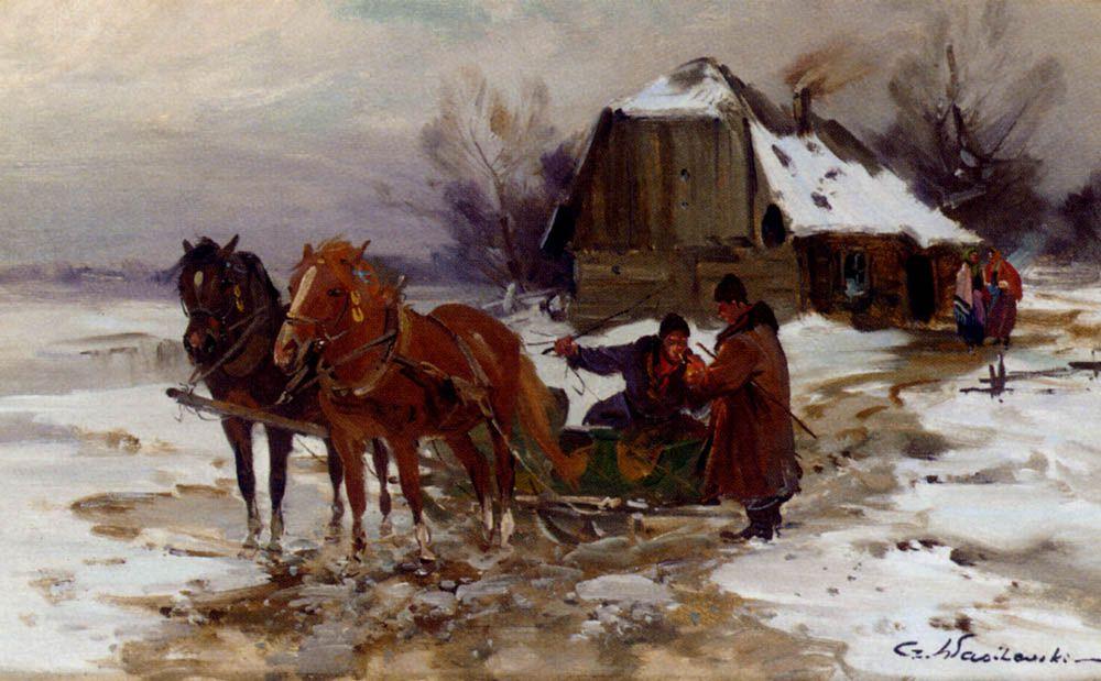 Troika Riders Smoking by Czeslaw Wasilewski