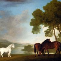 Two Mares In A Landscape by William Webb