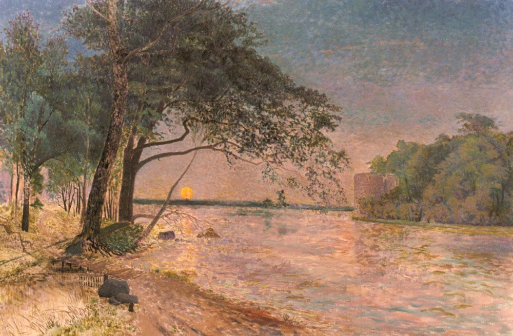 View Of Kronenberg Castle At Sunset by Alfred Wahlberg