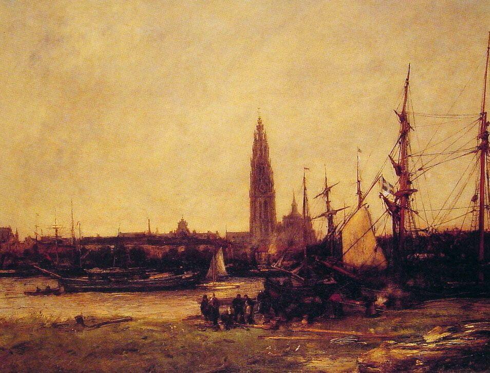 View of Antwerp by Antoine Vollon
