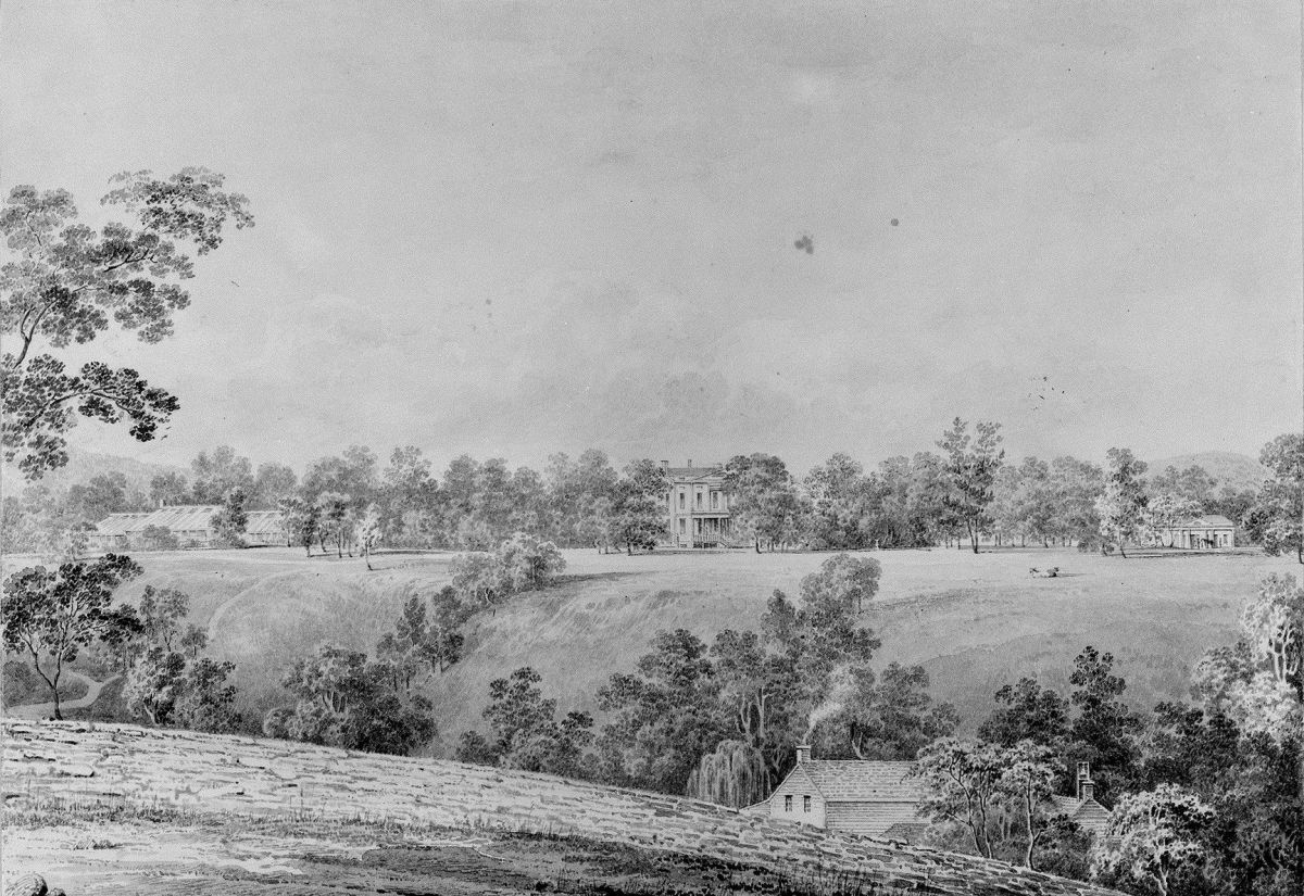 View of David Hosack Estate Hyde Park New York from the East from Hosack Album by Thomas Kelah Wharton