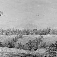 View of David Hosack Estate, Hyde Park, New York, from the East (from Hosack Album) by Thomas Kelah Wharton