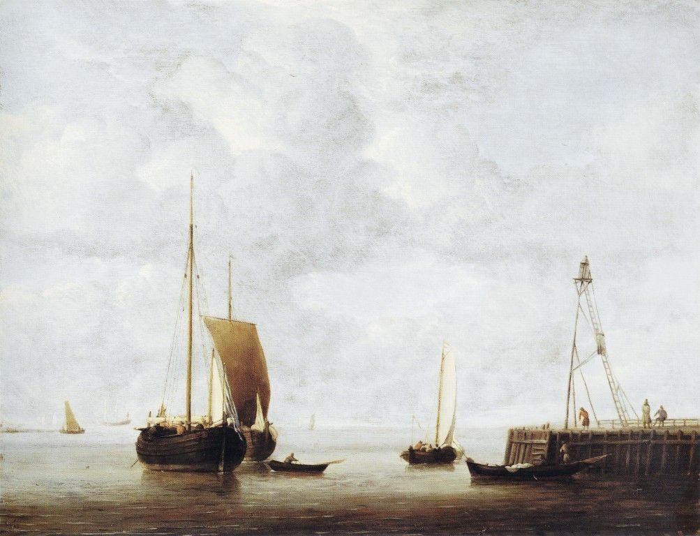 A Dutch Hoeker at Anchor near a Pier by Willem van de Velde the Younger