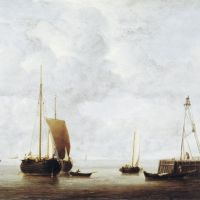 A Dutch Hoeker at Anchor near a Pier by Willem van de Velde the Younger