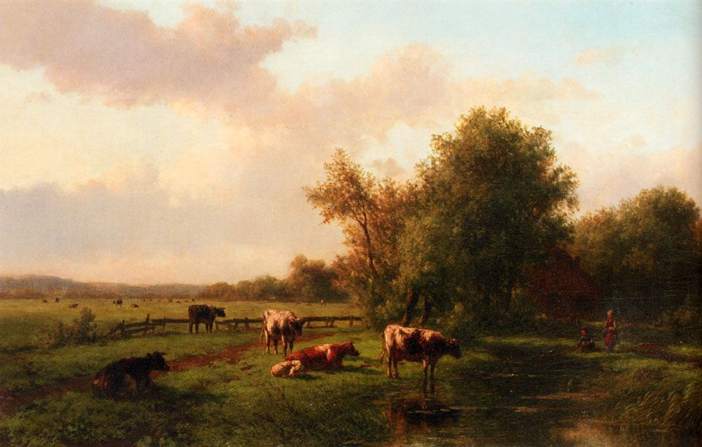 A Landscape With Cows On A Riverbank A Farm Beyond by Willem Vester