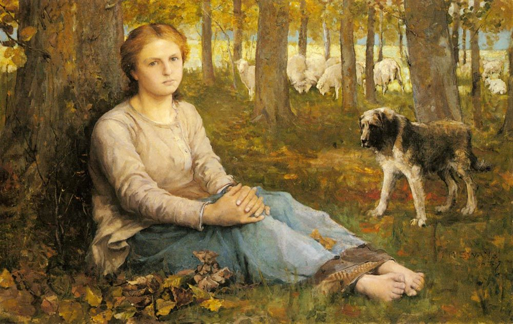 A Shepherdess And Her Flock by Edmond Jean Baptiste Tschaggeny