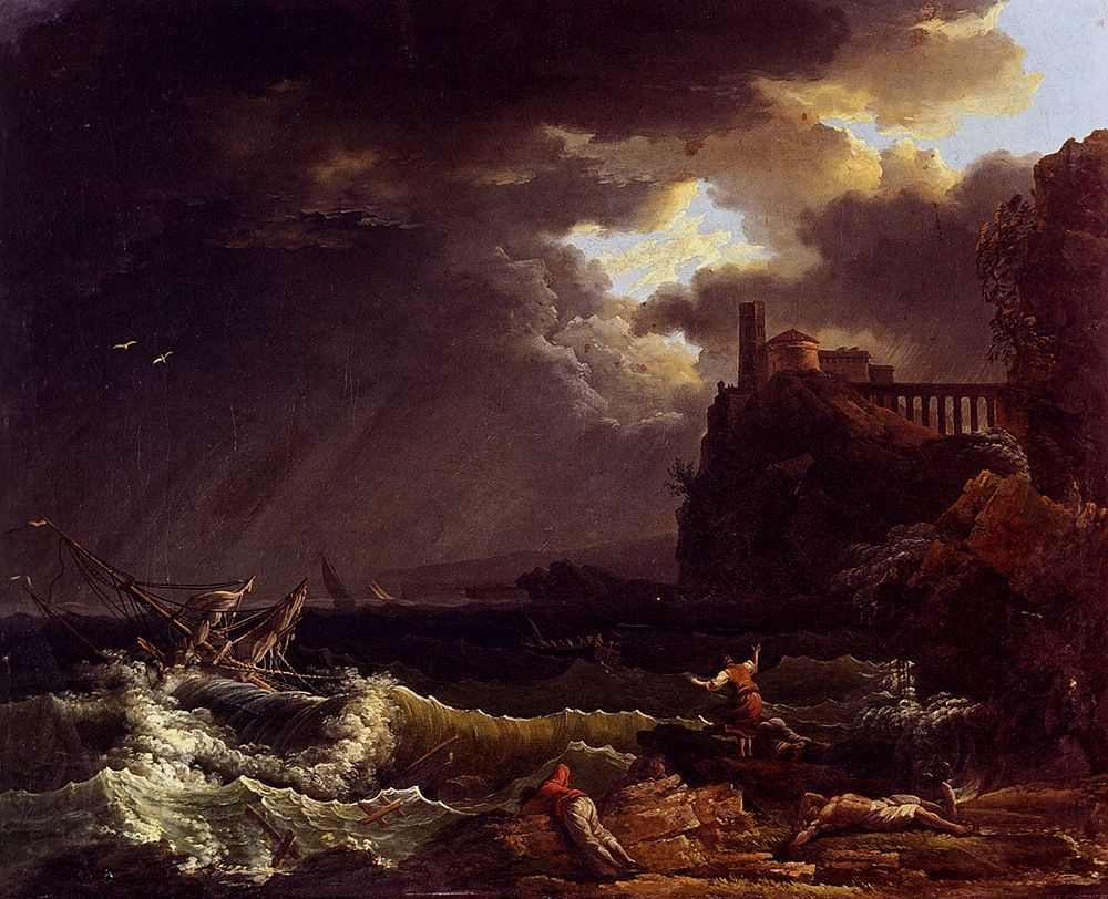 A Shipwreck In A Stormy Sea By The Coast by Claude-Joseph Vernet