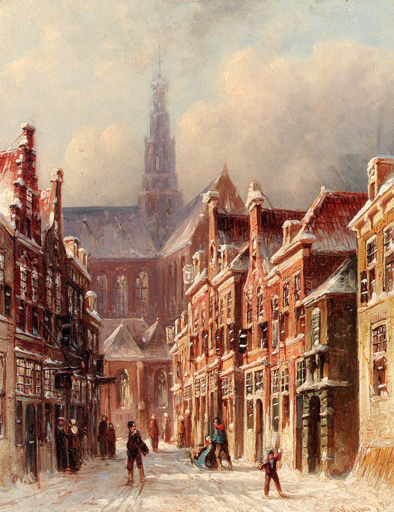 A Snowy Street With The St. Bavo Beyond Haarlem by Pieter Gerard Vertin