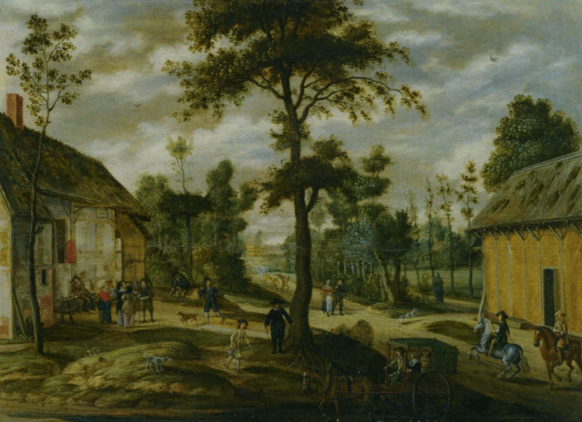 A Village Scene Outside an Inn with Two Horsemen and a Carriage Halted in the Foreground by Isaac van Oosten