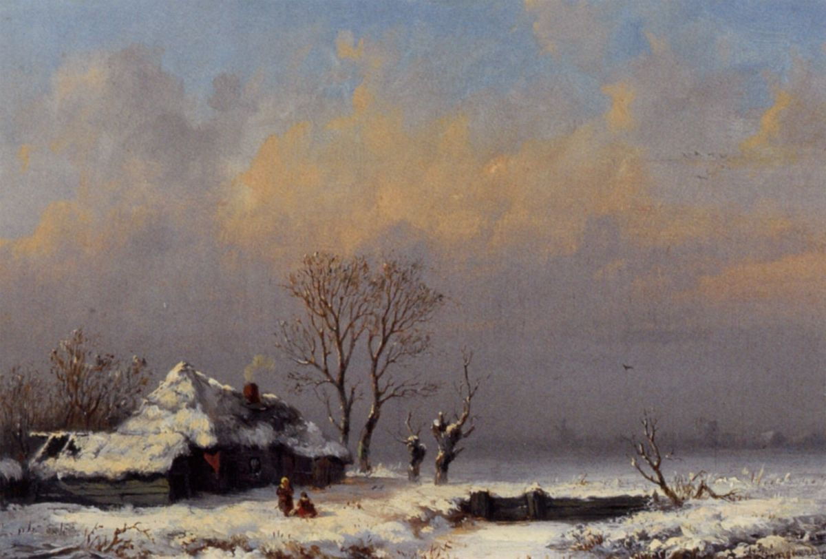 A Winter Landscape with Figures near a Farm by Anthonie Jacobus Van Wijngaerdt