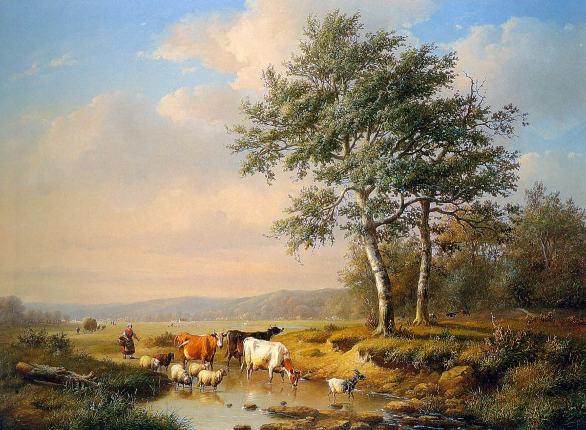An Extensive Landscape with Cattle Watering by Louis Pierre Verwee