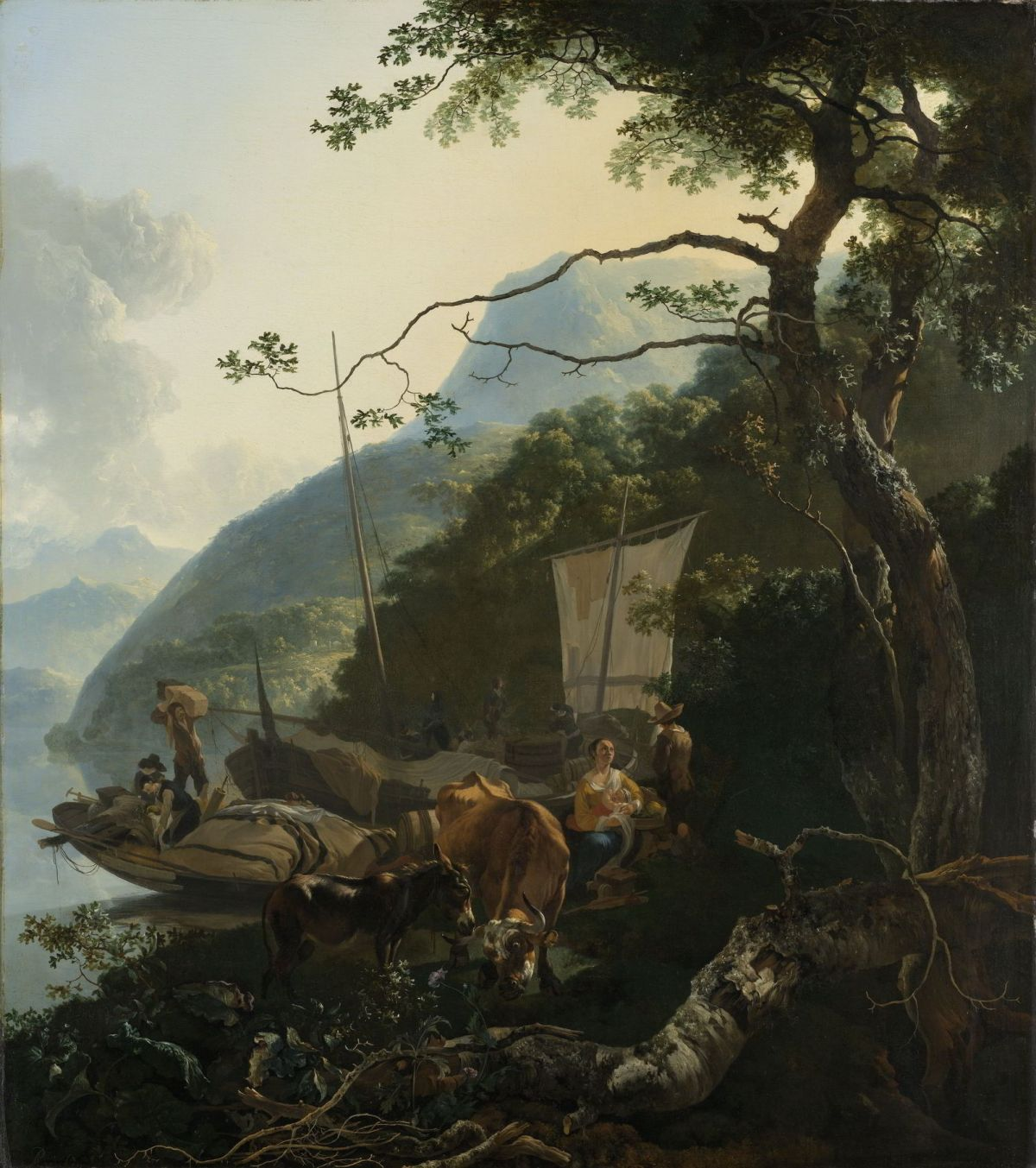 Boatmen Moored on the Shore of an Italian Lake by Adam Pynacker