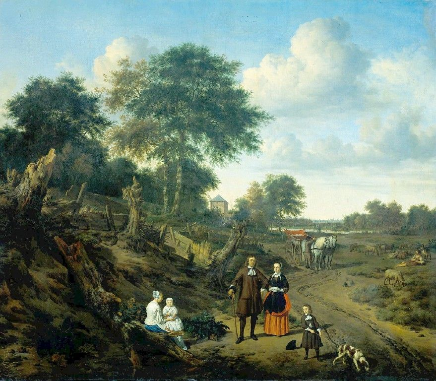 Family Portrait in a Landscape by Adriaen van de Velde