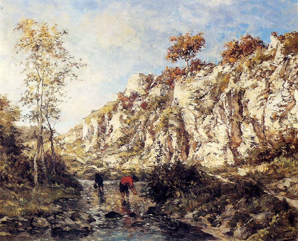Figures In A Rocky Stream by Isidore Verheyden