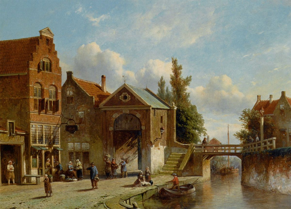 Figures in the Quay of a Dutch Town by Pieter Gerard Vertin